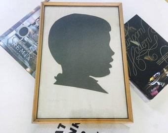 Vintage Silhouette Portrait, Boys Silhouette, Silhouette Art, Hand Cut Paper Art, Framed Silhouette, Black and White Wall Art, Vintage Art
