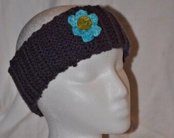 Women's Ribbed Purple Ear Warmer with Blue Flower