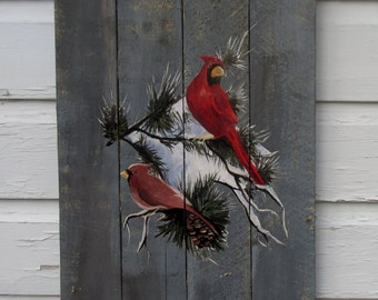 Holiday Wood Pallet Sign -Cardinals Sign with snow branches Christmas decor