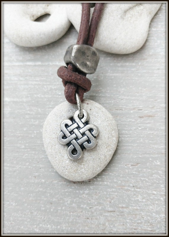 Celtic Jewelry, Hag stone Necklace, Celtic Knot Necklace, Hag stone Talisman, Viking Jewelry, primitive jewelry, holey stone, occult jewelry