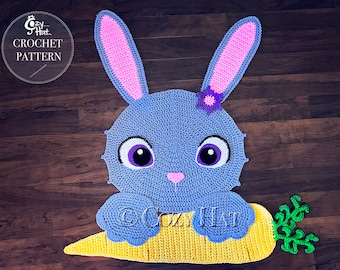 CROCHET PATTERN Bella the Bunny Rug, by Cozy Hat. Sale!