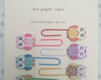 Set of 6 cute large owl button paper clips bookmark