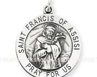 Sterling Silver  Round  Saint Francis of Assisi Animal Lover's Pendant Charm