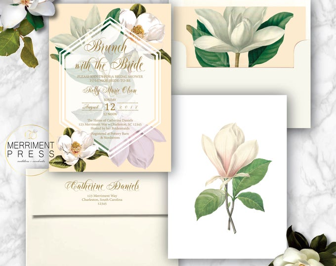 Magnolia Brunch with the Bride /Bridal Shower Invitation / Magnolias / Botanical / Greenery / Southern Bridal Shower / CHARLESTON COLLECTION