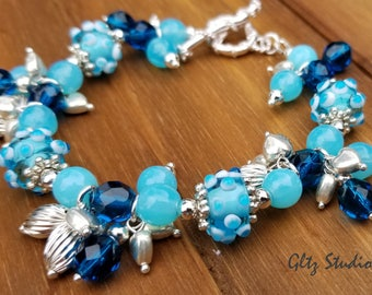 Vintage Lampwork Cluster Bracelet w/Swarovski Crystals, Czech Glass. Sterling Silver Plated Beads And Sterling Silver Clasp