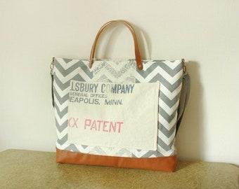 Chevron Totebag handbag purse with vintage trim/ 5 large pockets /Messenger bag/ Shoulder bag/ Tote bag/ - Ready