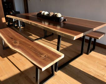 Live Edge Dining Table | Black Walnut Contemporary Kitchen | Scandinavian Rustic Modern Style Home | Industrial Steel Legs