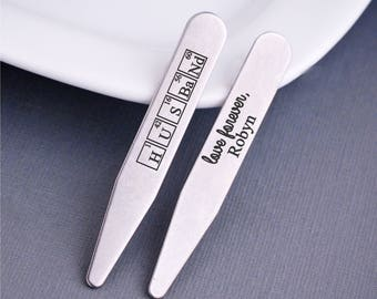 Periodic Table Christmas Gift for Husband, Personalized Collar Stays, Gift for Husband, Stainless Steel Collar Stays from Wife, Science Gift