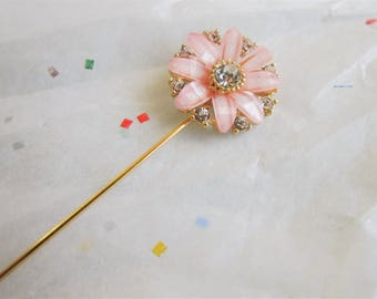 Pretty Pink with Gold and clear Crystal Hijab Scarf Hat Pin Brooch