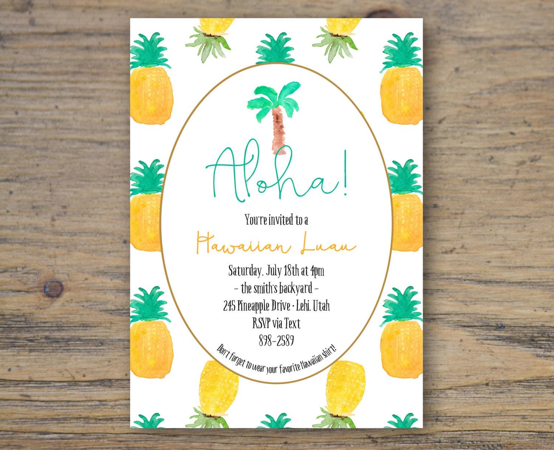 ALOHA Hawaiian Luau Pineapple Party Invitation custom 5x7
