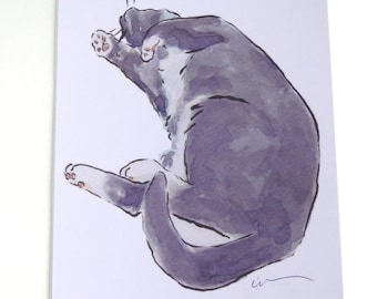 Tuxedo Cat Card Art Greeting Card From my Original Watercolour Painting Tickle Me!