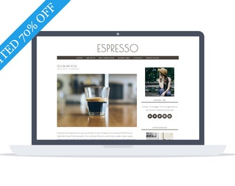 70% - Espresso - Minimal responsive Wordpress Theme - Self Hosted - Perfect for blogging while enjoying your morning coffee.