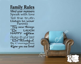 Family Decal - Family Rules 2 Family Wall Decal - Family Decor-Family Rules Decals-Family Rules Wall Decals