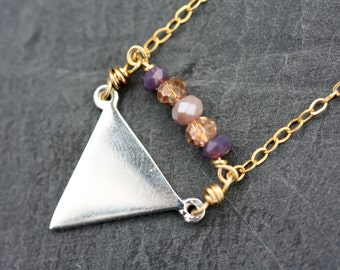 Tiny triangle sterling silver necklace, layering necklace, triangle necklace, geometric triangle necklace, kerrieberrie