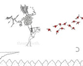 So Oliver built himself a flying machine... - print of original heart drawing by seth