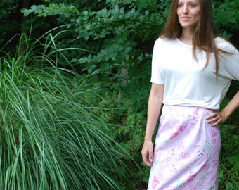 Pink and Green Hearts Vintage Style Knee Length Skirt