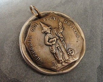 Guess Who Is Happy - antique French Jeton pendant - French token jewelry with magician