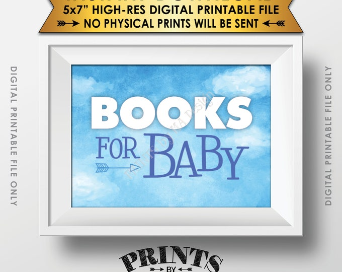 Books for Baby Sign, Books Instead of Cards Sign, Blue Sky, Adventure, Clouds, Baby Boy, Blue PRINTABLE Watercolor Style Sign <ID>