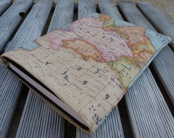 Book Sleeve, Book cover, Book Bag, book protector, book pouch, paperback sleeve, World map, Chrismas gift