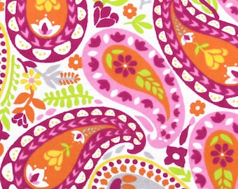 Snuggle Flannel Prints - Bright Colored Paisley - 1/2 Yard