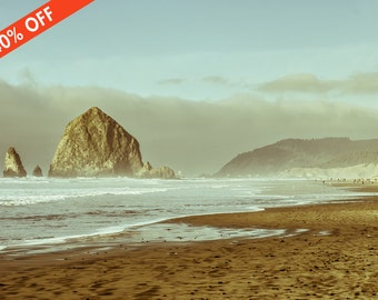 ON SALE 40% Off - Haystack Rock Oregon Coast Photography, Beach Print, Ocean Theme Decor, Overcast Day, Muted Tones, Pacific Ocean