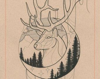 Moon Stag Print