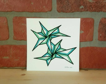 5 X 5 Original freehand drawing - marker on watercolor paper - original art NOT a print - small minimalist home decor by DeMaris - greens