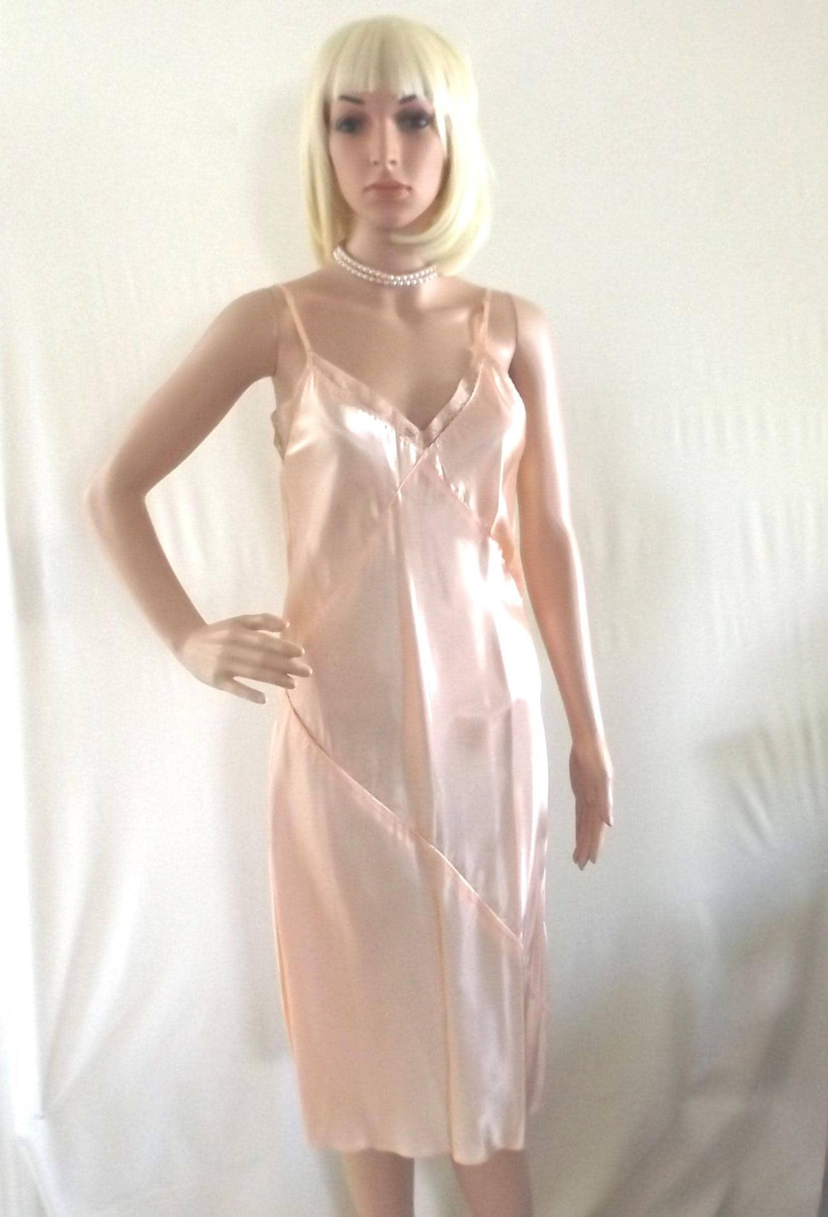 1930s satin slip dress lingerie peach satin slip negligee w