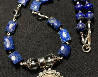 Blue Lapis Necklace with Coin Pendant