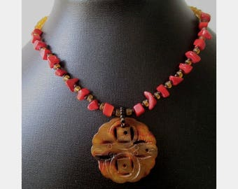 Carved Stone Necklace * Stone Pendant Necklace * Bead Necklace