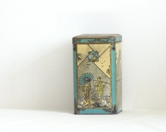 Vintage Japan Inspired Tin with Hinged Lid