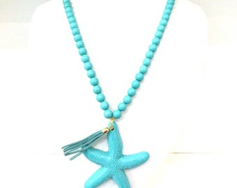 Turquoise Starfish Charm Pendant Necklace