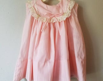 Vintage 60s Girls Pink Sleeveless Dress with Lace and Rick Rack Trimmed Collar by C.I. Castro - Size 24 months- New, never worn