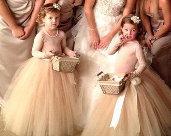 Flower Girl tutu in champagne beige tulle sashed with ivory or blush satin ribbon. Flower Girl long tulle skirt.