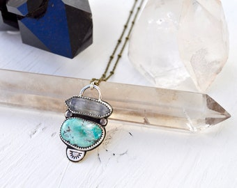 Sky People Collection | Turquoise x Tibetan Ghost Quartz x Brass x Sterling Silver | Morning Star Necklace III
