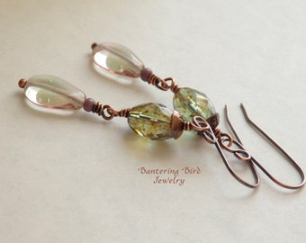 Raindrop Earrings, Clear Glass Dangle, Olive Green Bead, A Touch of Pink, Handmade Copper Jewelry for Spring
