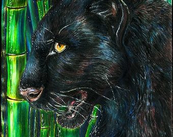 The panther is drawn with colored pencils and markers. PRINT