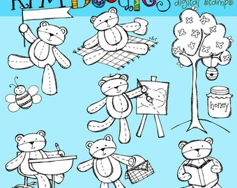 KPM Bears at School Digital black line stamps