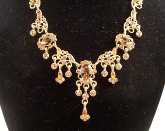 Vintage Amber Glass Rhinestone Dangle Drops Necklace