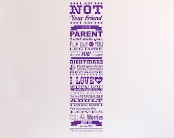 Parent Promise Matte Removable Wall Vinyl, parenting teens teenager being a good parent wall art sticker teen room childs room kids love