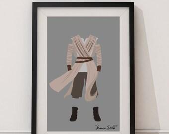 Rey Star Wars - minimalism star wars rey force awakens poster art print