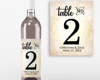 Table Number Wine Labels - Wedding Wine Favors -Table No Wine Labels - Wedding Decor - Personalized  Wine Labels - Wine Labels - Set of 4