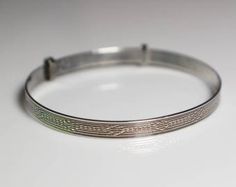 Childs Silver Slide Bangle Simple Etched Abstract Design Bracelet Stamped Silver