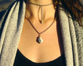 Layered chain and stone necklace/ choker