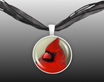 "Red Northern Male Cardinal Bird Photo 1"" Pendant Necklace in Silver Tone"