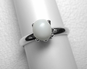 SALE!   Rare Pearl Ring, Giant Clam, in Silver, 7 x 6 mm