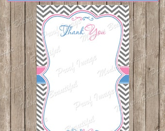 Thank You Note Card -  Gender Reveal Pink and Blue Chevron Baby Shower Printable 4x6 Thank You Note Cards-  GenderReveal2  INSTANT DOWNLOAD