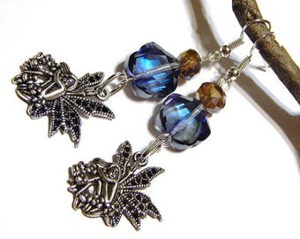 Woodland Fairy Earrings With Blue Faceted Crystal Plum Rose Beads - Fairy Jewelry - Earrings - Whimsical Jewelry - Celtic Jewelry - Irish