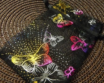 Mothers Day Sale 12 Pack Drawstring Multi Color Butterfly Black Organza Gift and Jewelry Bags 2.75 X 3 Inch Size