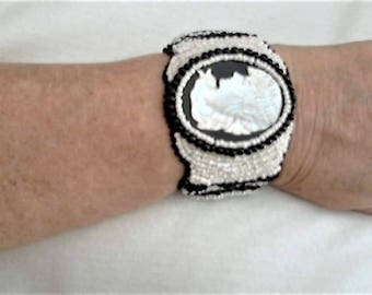 MOP Bead Embroidery,MOP Cameo Embroidery,Cameo MOP Bracelets,Cameo Embroidery Bracelet,Cameo Bead Embroidery Bracelet